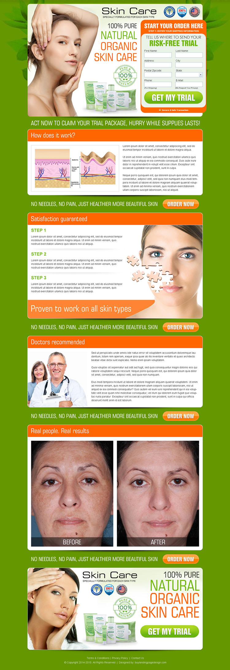 natural organic skin care product effective lead capture landing page design