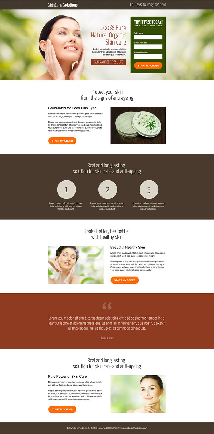 natural organic skin care modern and converting landing page design
