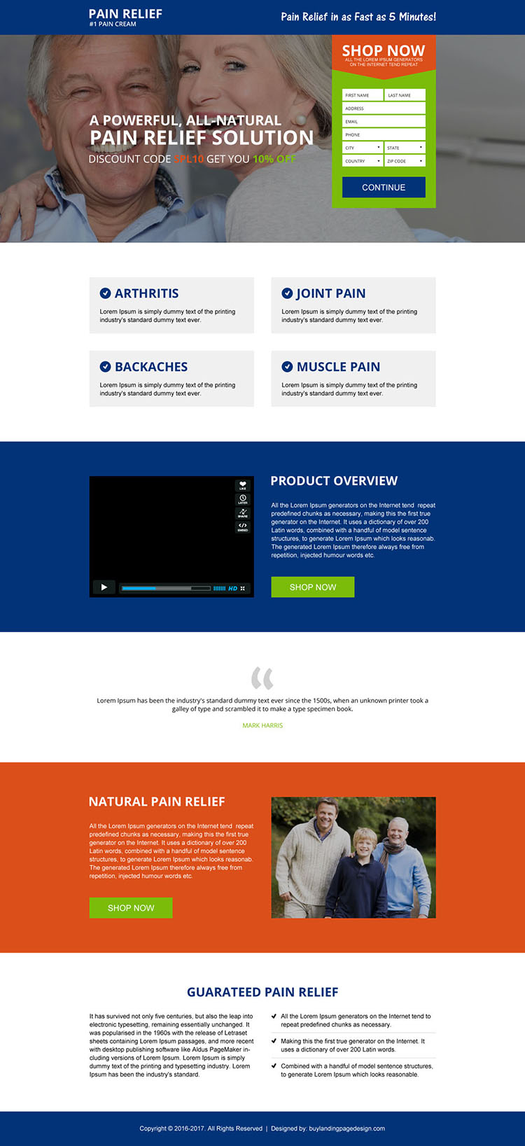 natural pain relief cream lead capturing landing page design