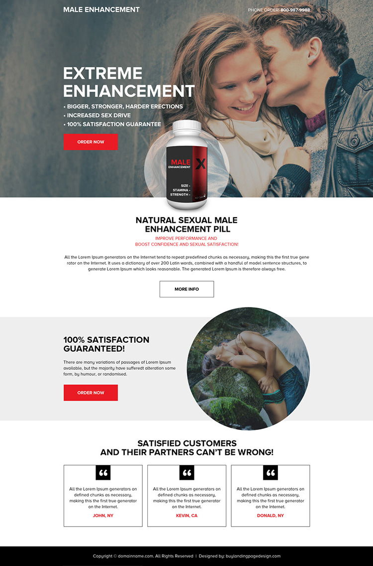 responsive male enhancement pills selling minimal landing page