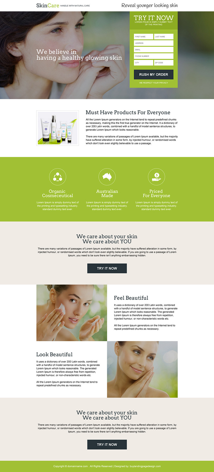 skin care product trial responsive landing page design