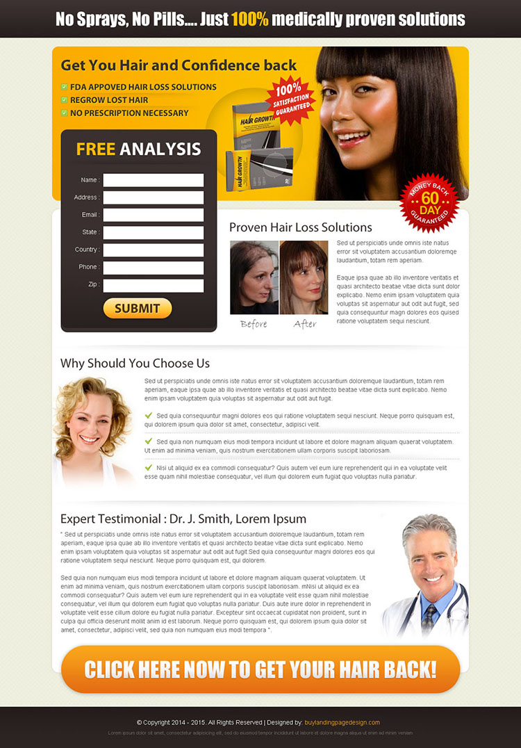 medically proven solutions to get your hair and confidence back lead capture page