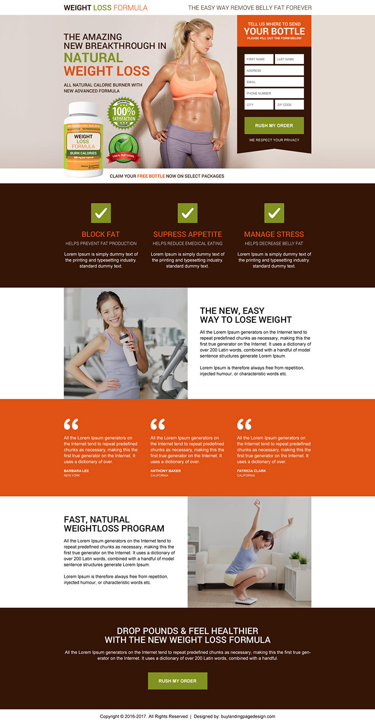 natural calorie burner product selling modern landing page design