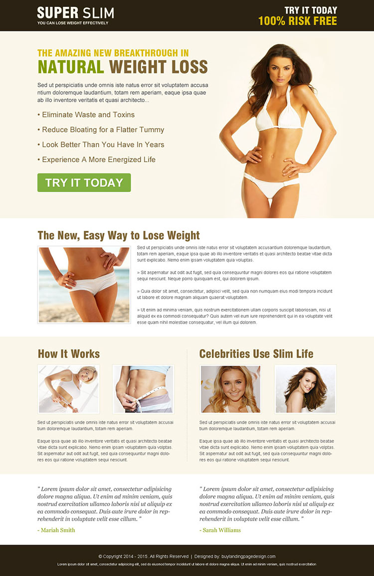 super slim natural weight loss responsive squeeze page design