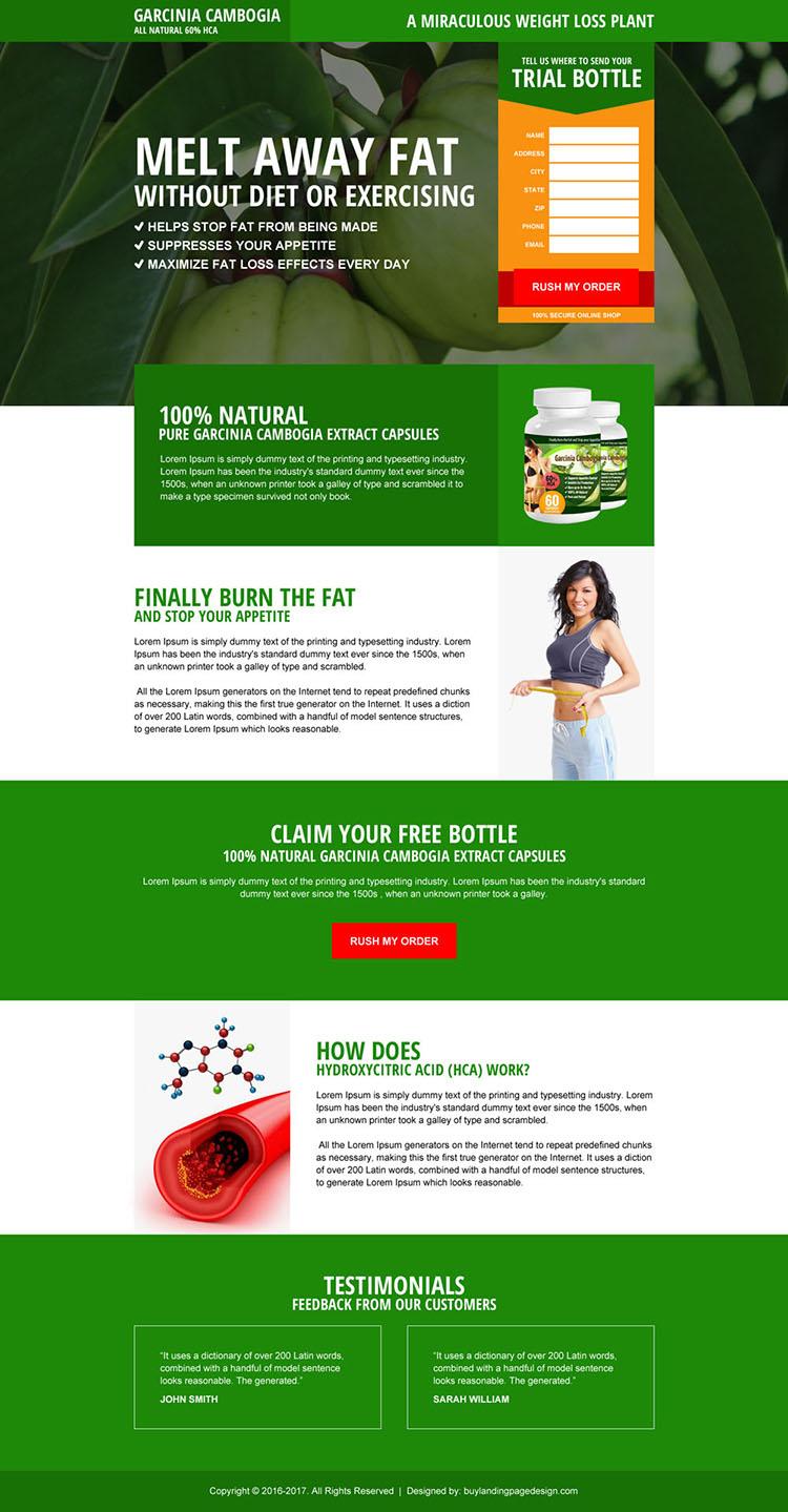 natural garcinia cambogia product landing page design