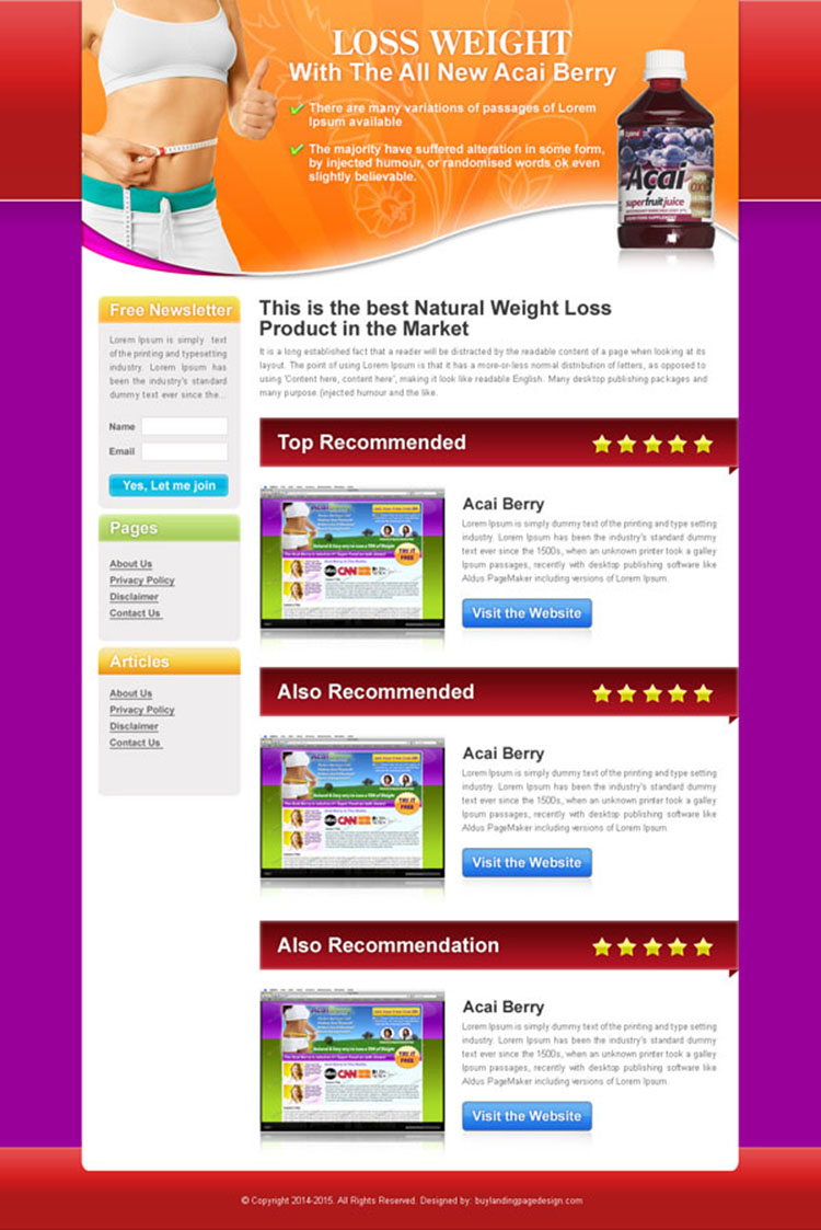 lose weight with the all new acai berry review type landing page design
