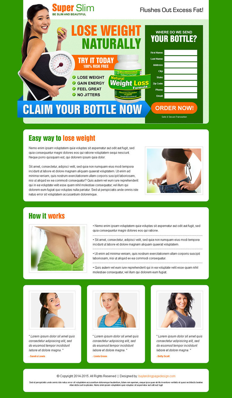 converting natural weight loss formula product selling landing page design template