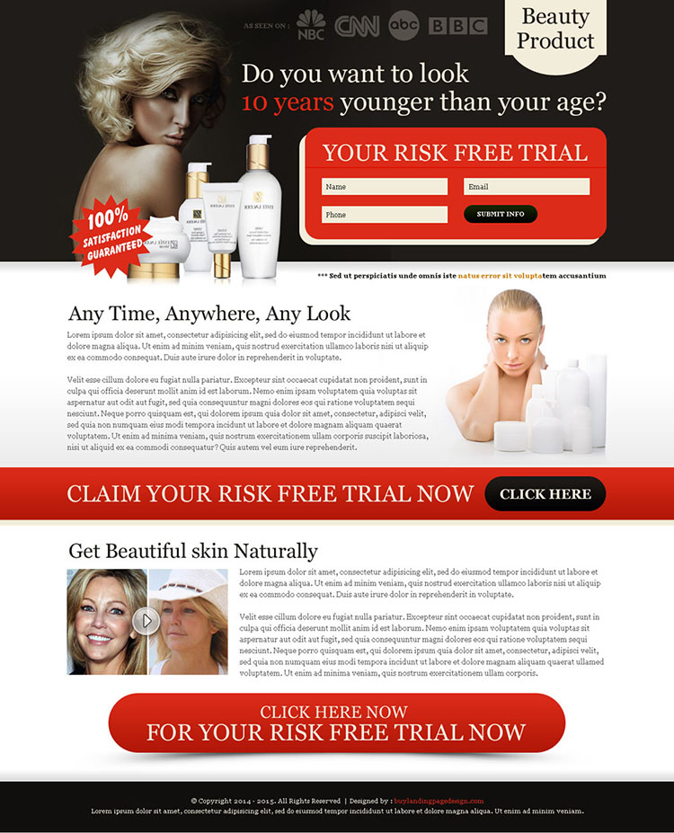 look 10 years younger than your age risk free trial lead capture squeeze page design