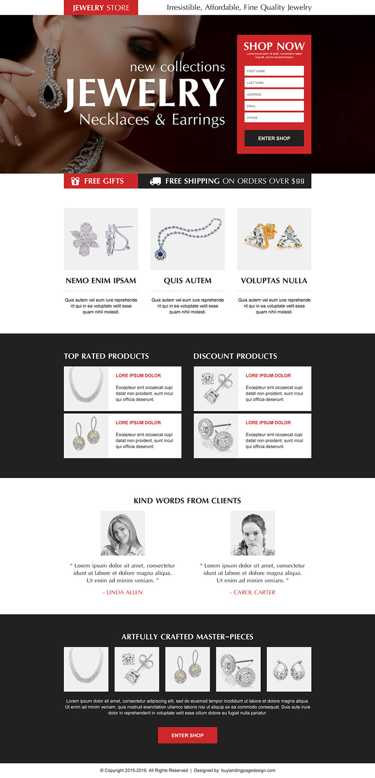 necklace and earrings jewelry store order now lead capture landing page design