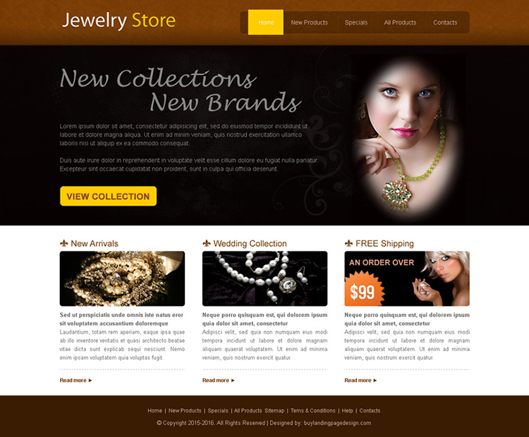 new collection jewelry store website template design psd