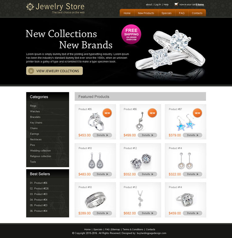 new collection clean and attractive new brand jewelry website design psd