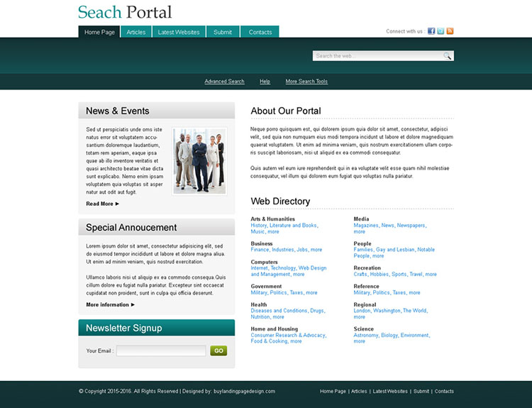 news and event directory website template design psd