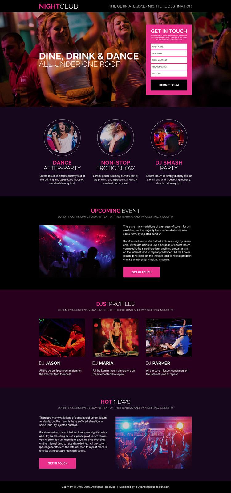 appealing night club lead gen landing page design