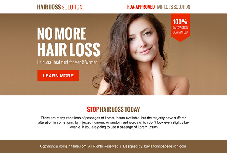 hair loss solution minimal ppv landing page design