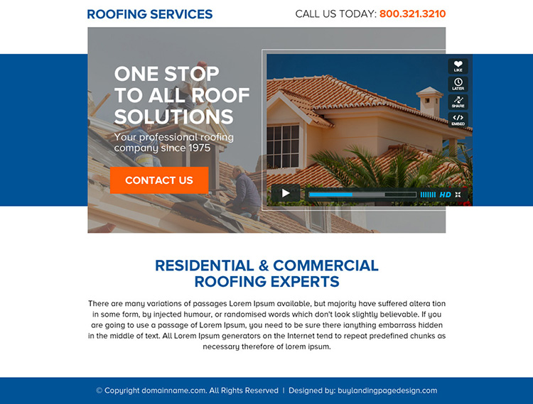 one stop roofing solutions call to action ppv landing page design