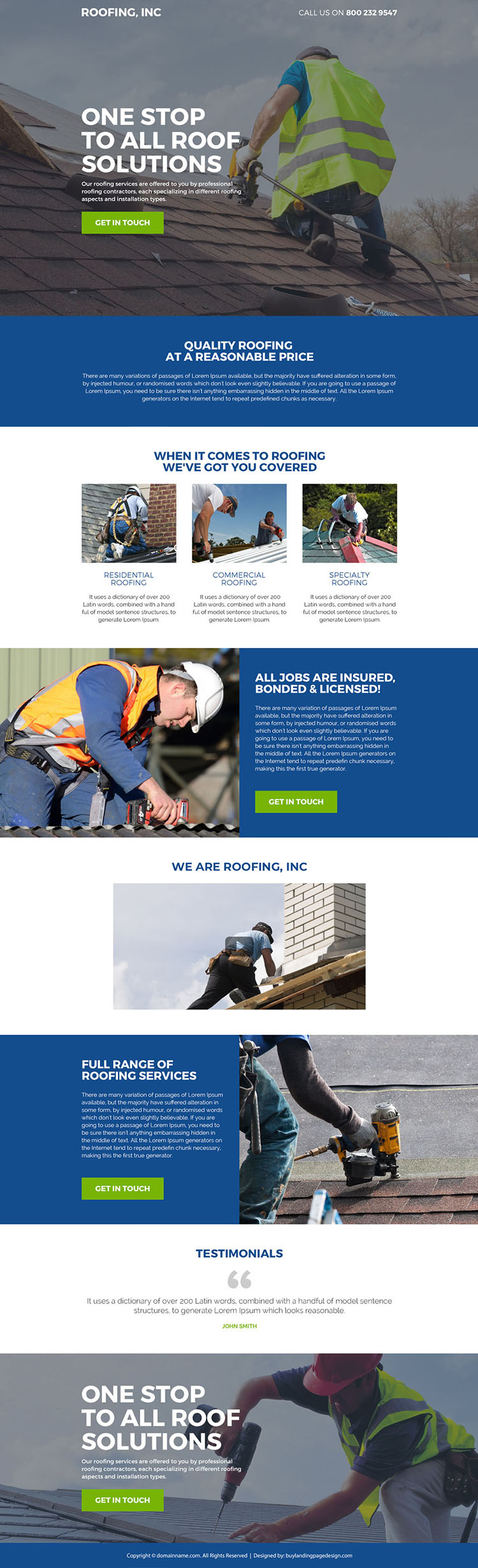 professional roofing contractors responsive landing page design