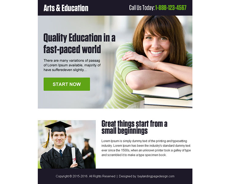 online art and education call to action ppv landing page design