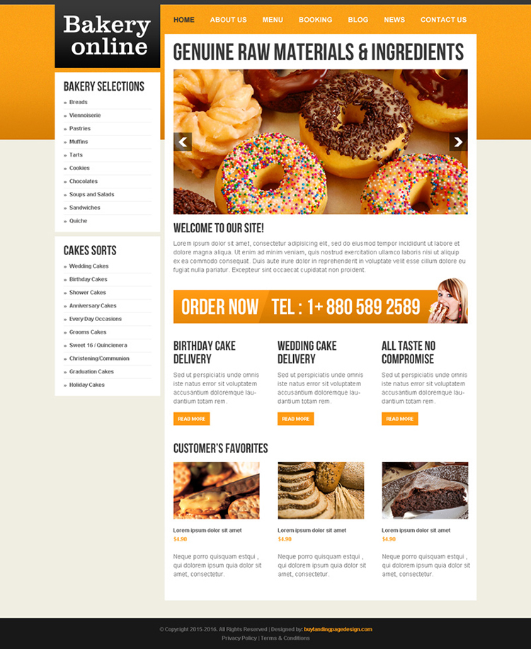 online bakery food template design 009