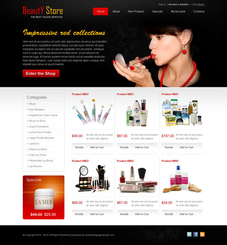 beauty product attractive and appealing website template design psd