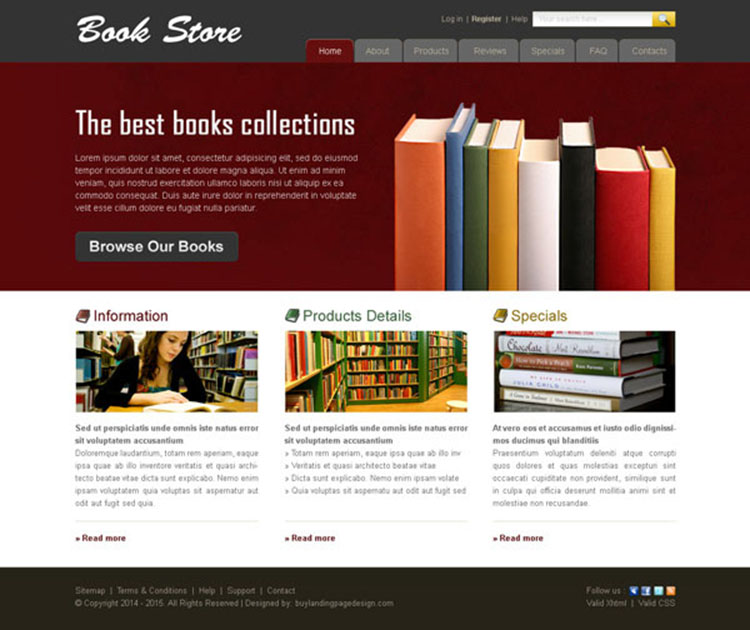 online book store website template 005 website template psd sale