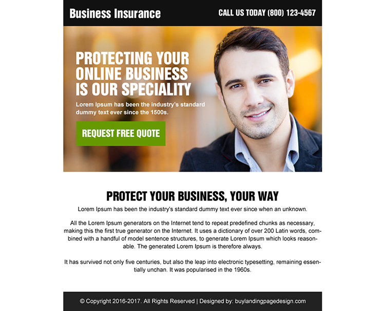 online business insurance ppv landing page design