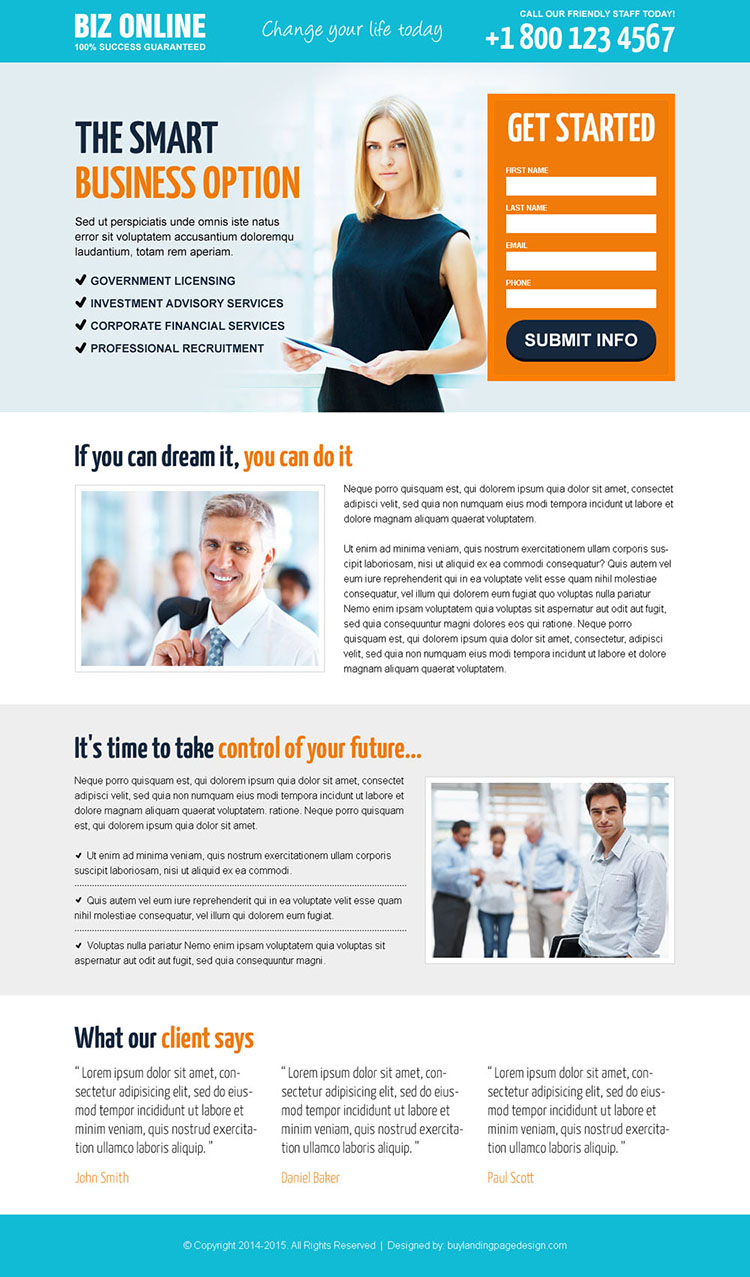 online business opportunity lead capture responsive landing page design templates to generates new business leads and sales