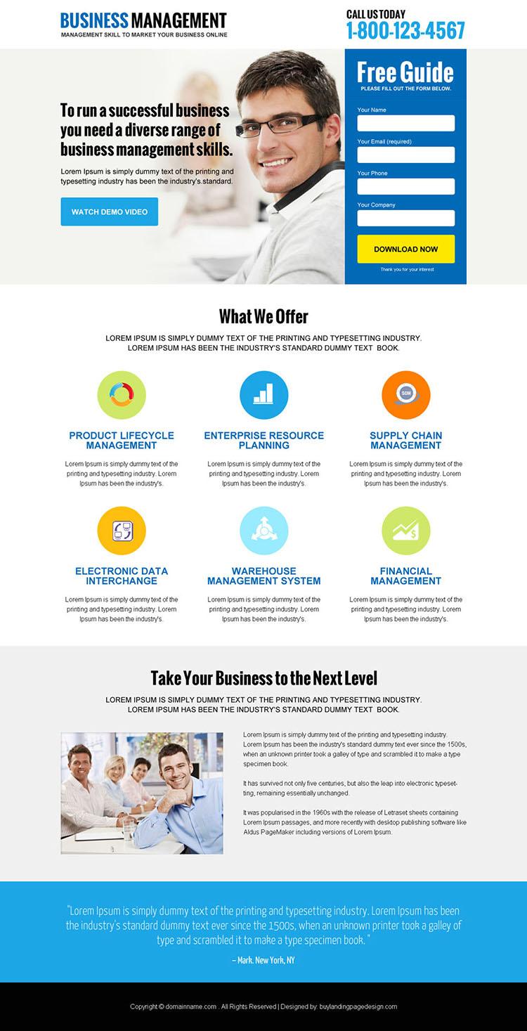 online business management responsive landing page design