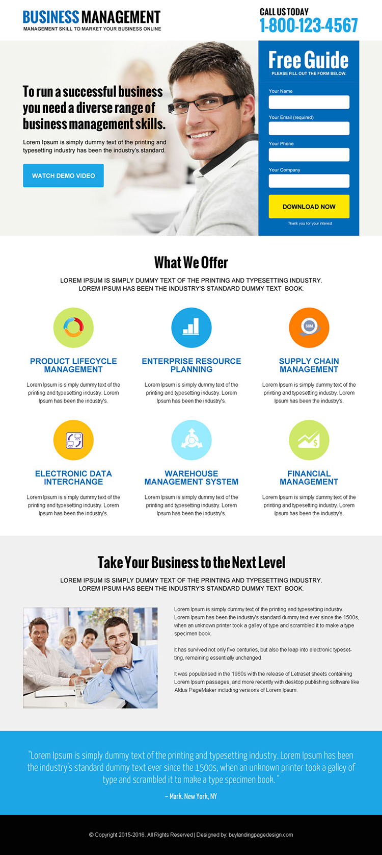 online business management lead magnet clean landing page design