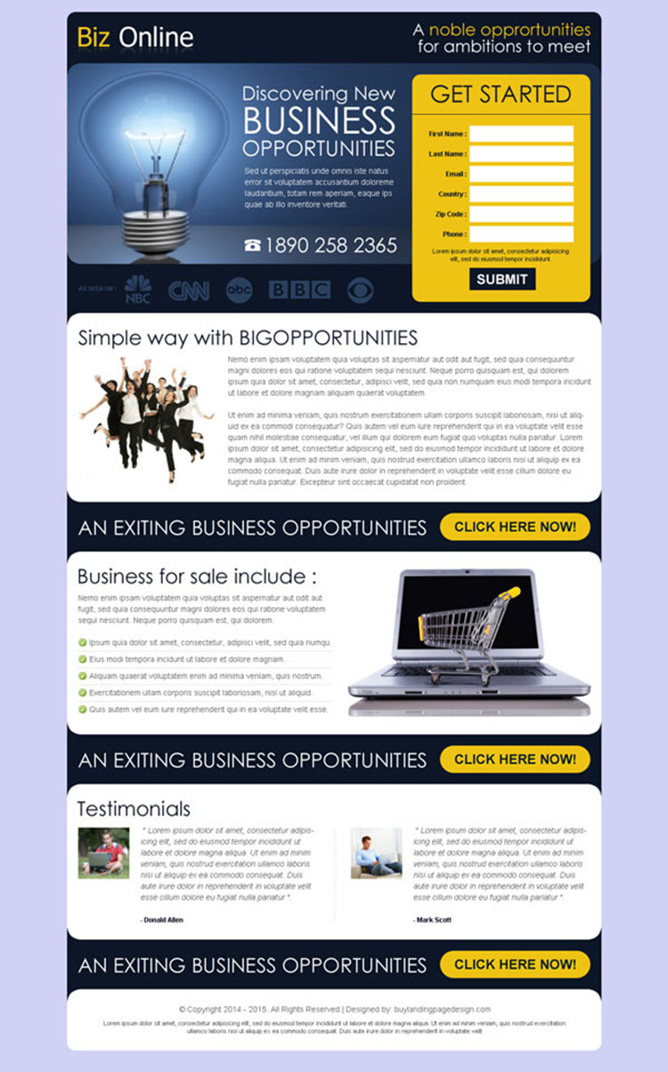 discovering new business opportunities lead gen page design