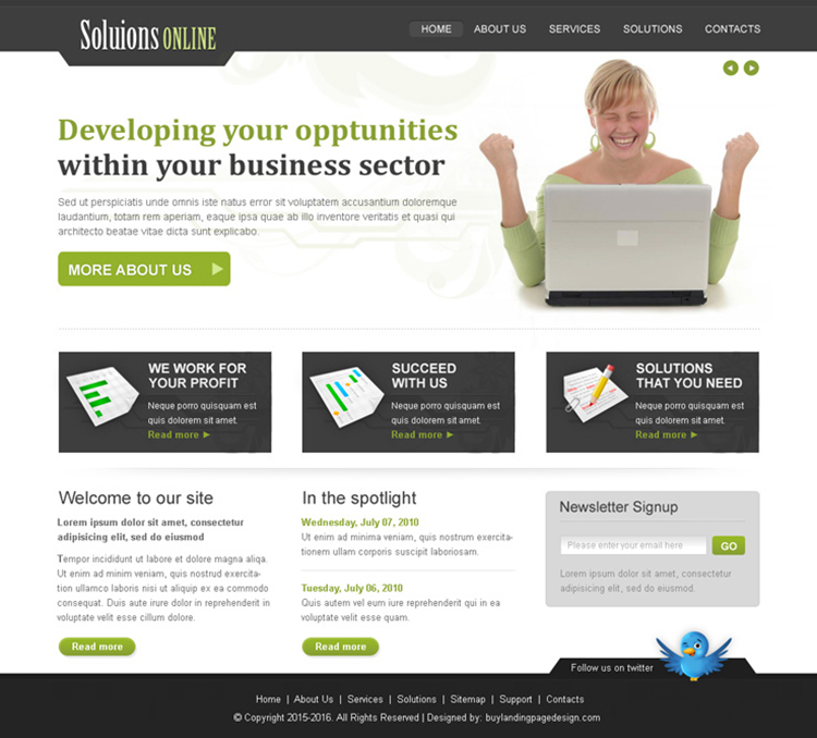 online business solution website template design psd for sale