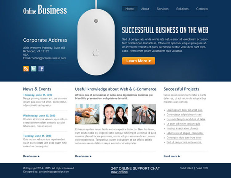 online business professional and clean website template design psd