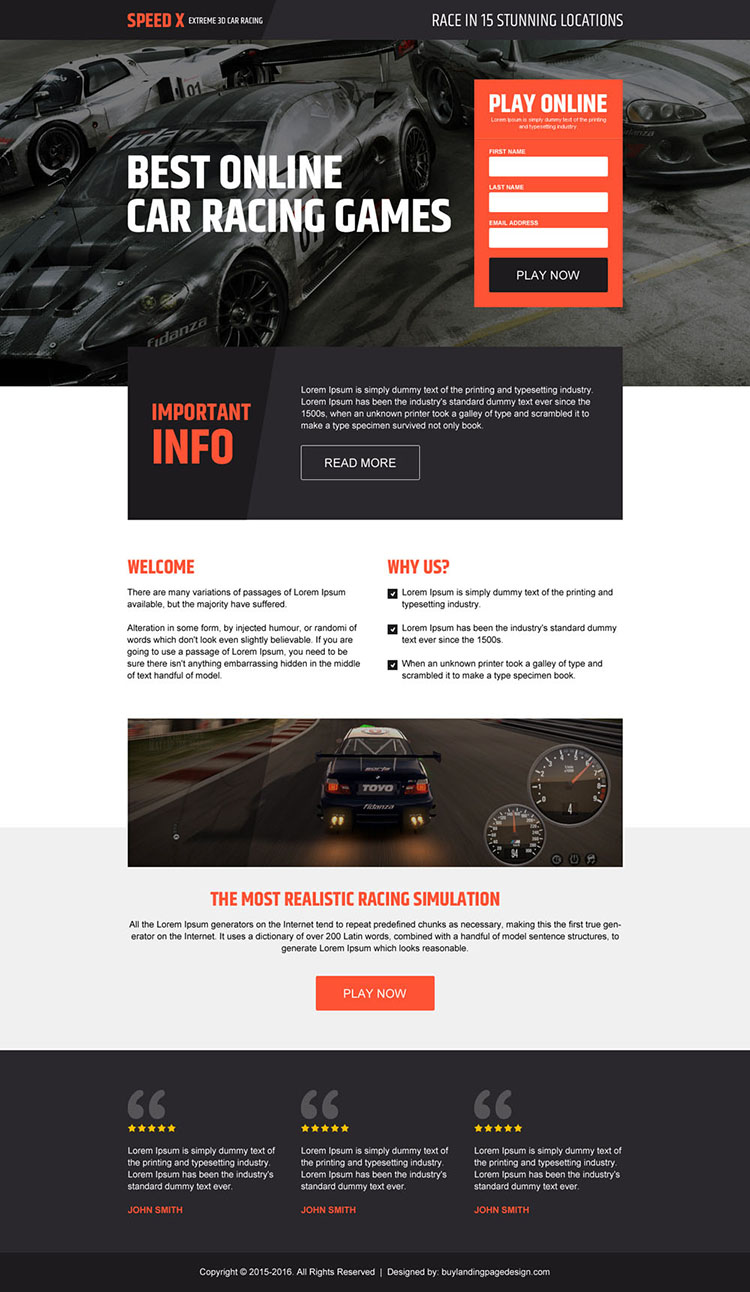 online car racing game lead capturing landing page design