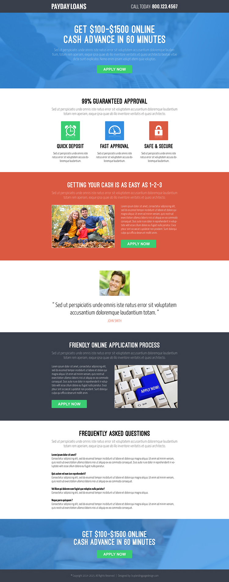 online cash advance call to action converting payday loan responsive landing page design
