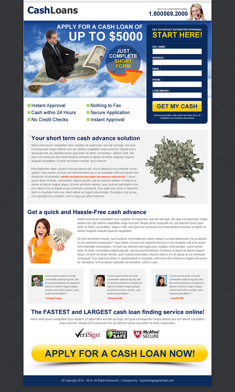cash loan white and blue lead capture converting design
