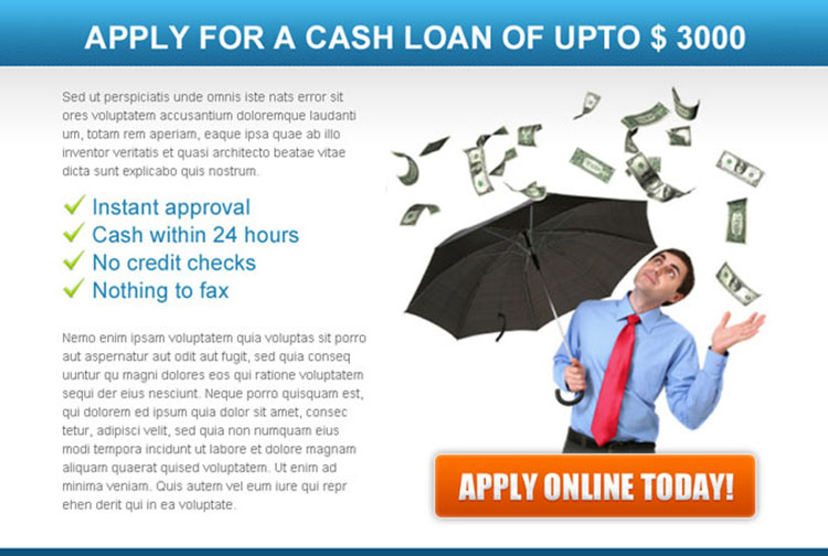apply for a online cash loan converting ppv landing page design