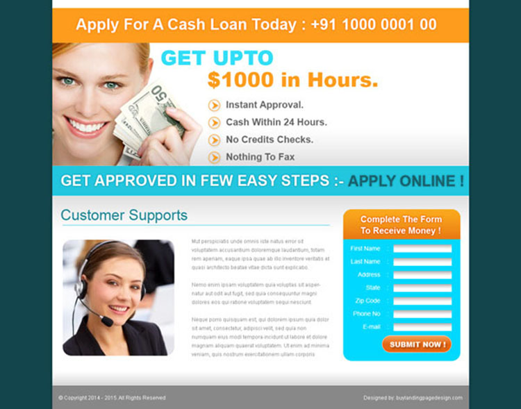 online cash loan lead capture landing page design for sale