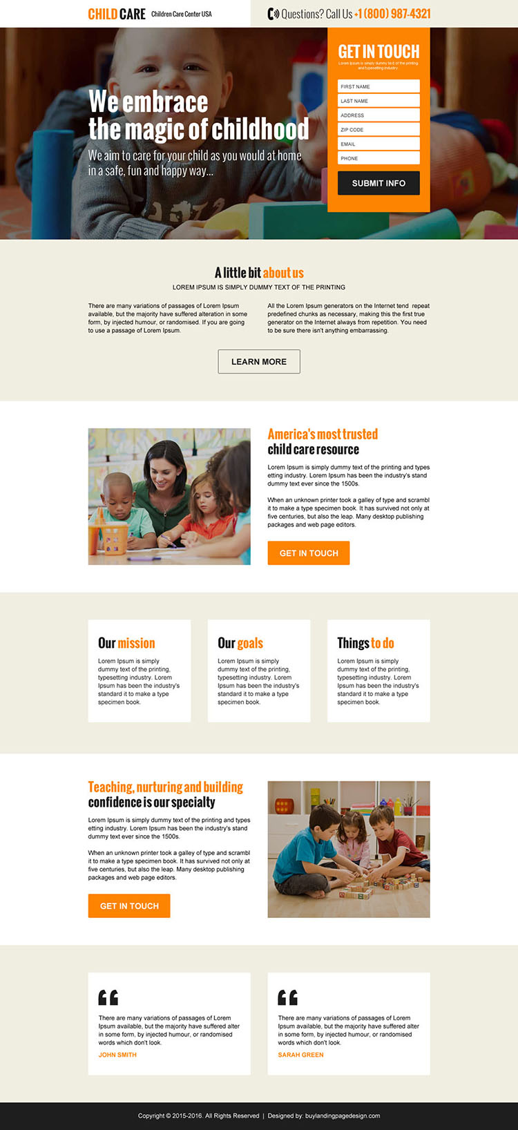 online child care agency responsive landing page design