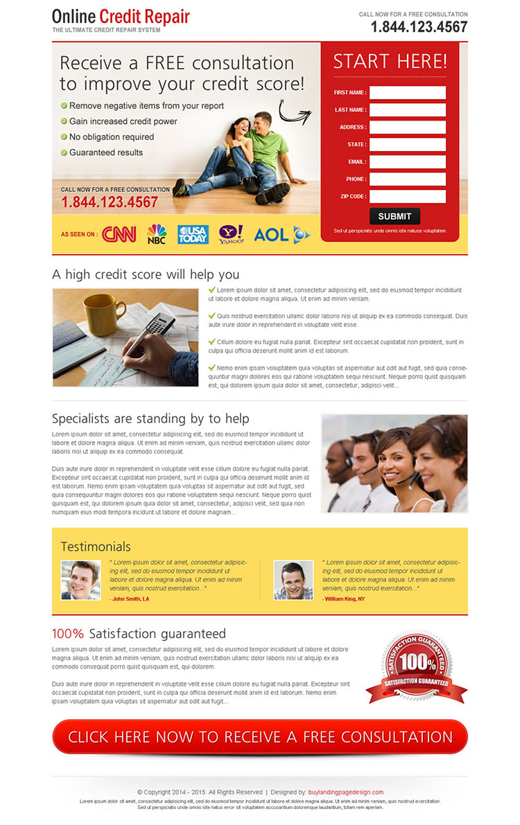receive a free consultation to improve your credit score very attractive and converting landing page design