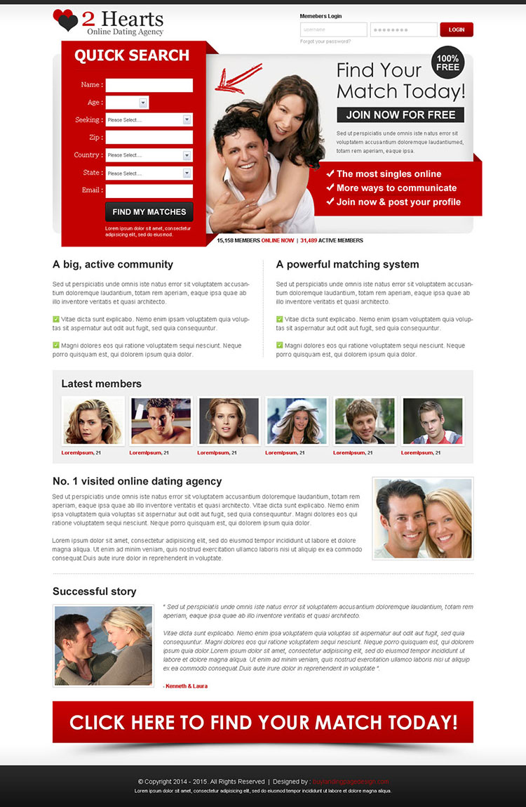 find your match today join now for free attractive landing page design