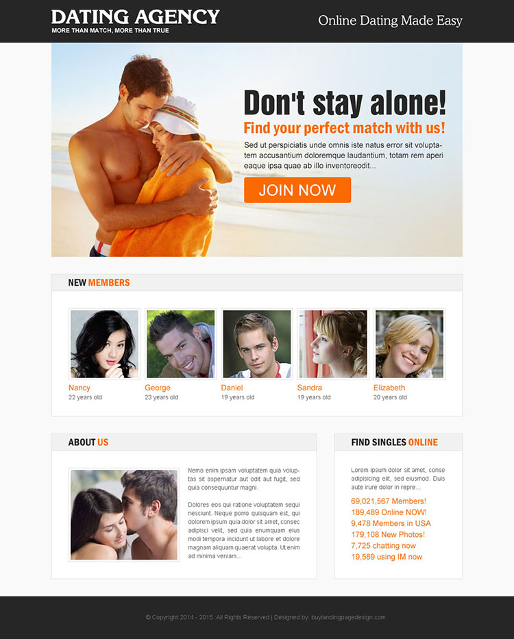 online dating agency responsive landing page design