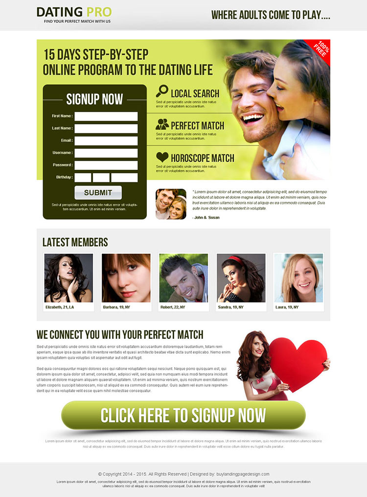 improve your leads with our online program to the dating life landing page