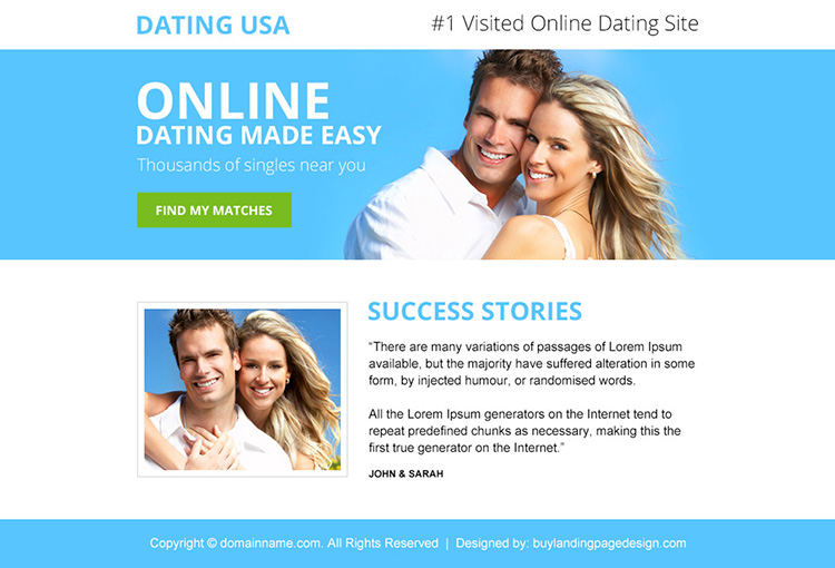 online dating call to action ppv landing page design