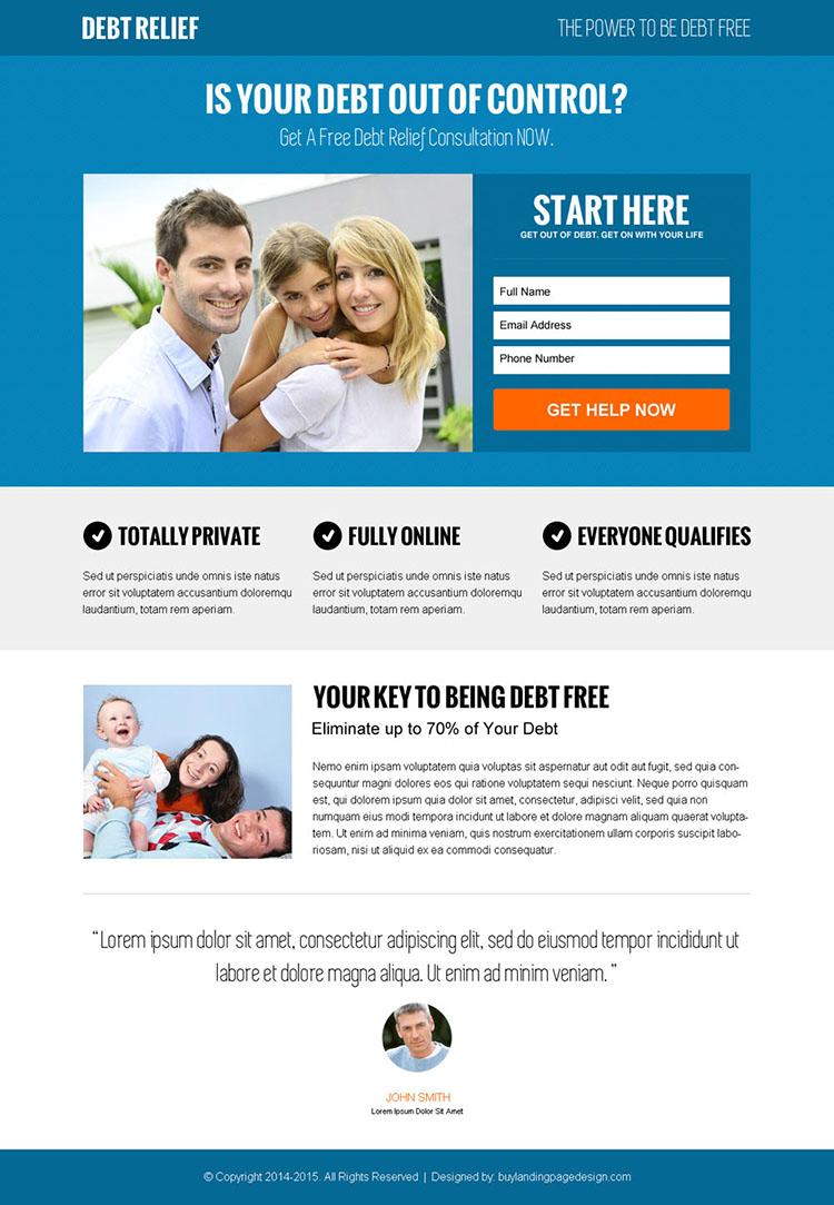 online debt solution lead gen responsive landing page design