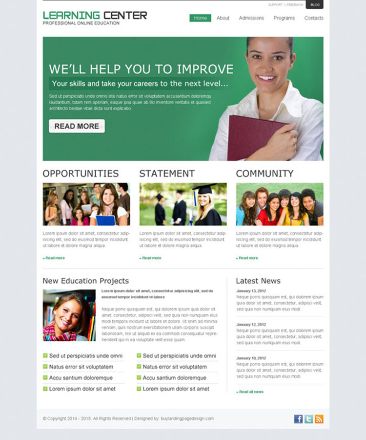 online education business conversion website template design psd to create your converting online education website