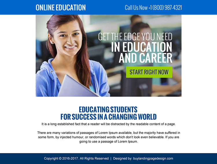 online education call to action ppv landing page design