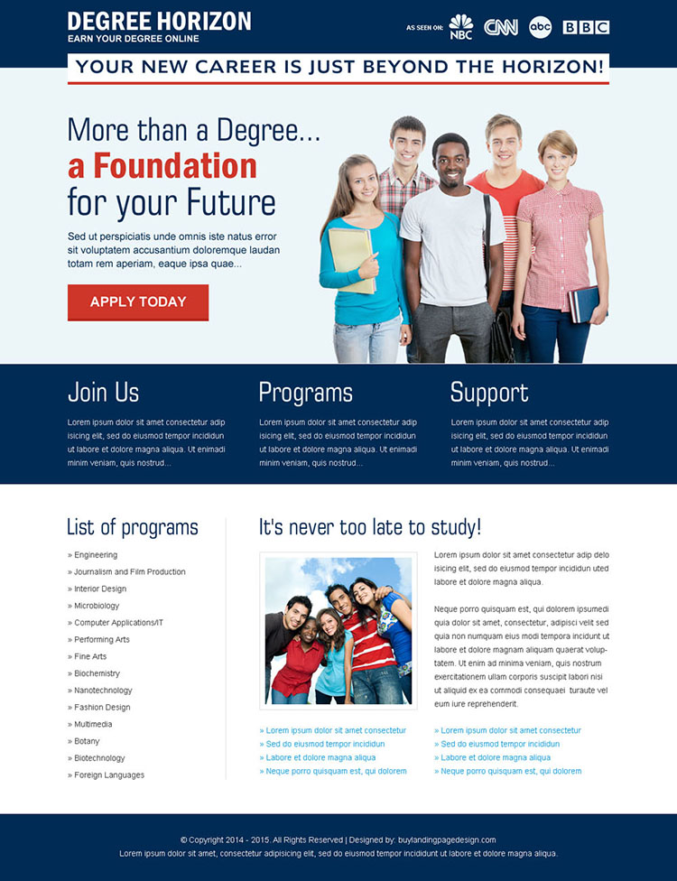 degree horizon apply now call to action landing page design
