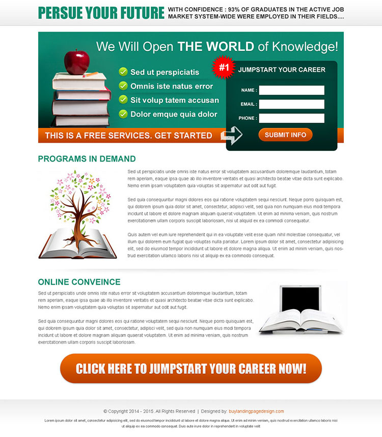 jump start your career very appealing and converting lead capture page design