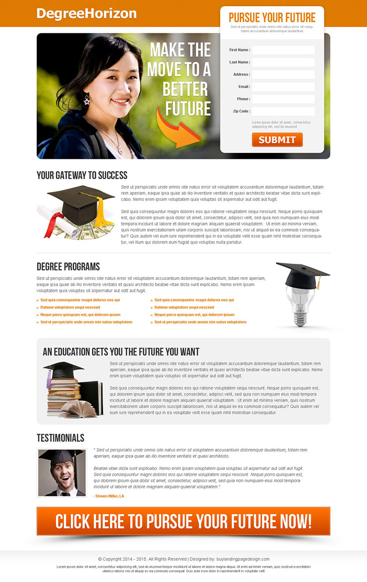 pursue your future clean and converting lead capture education landing page