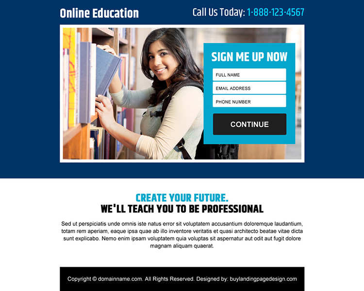 online education sign up lead capturing ppv landing page
