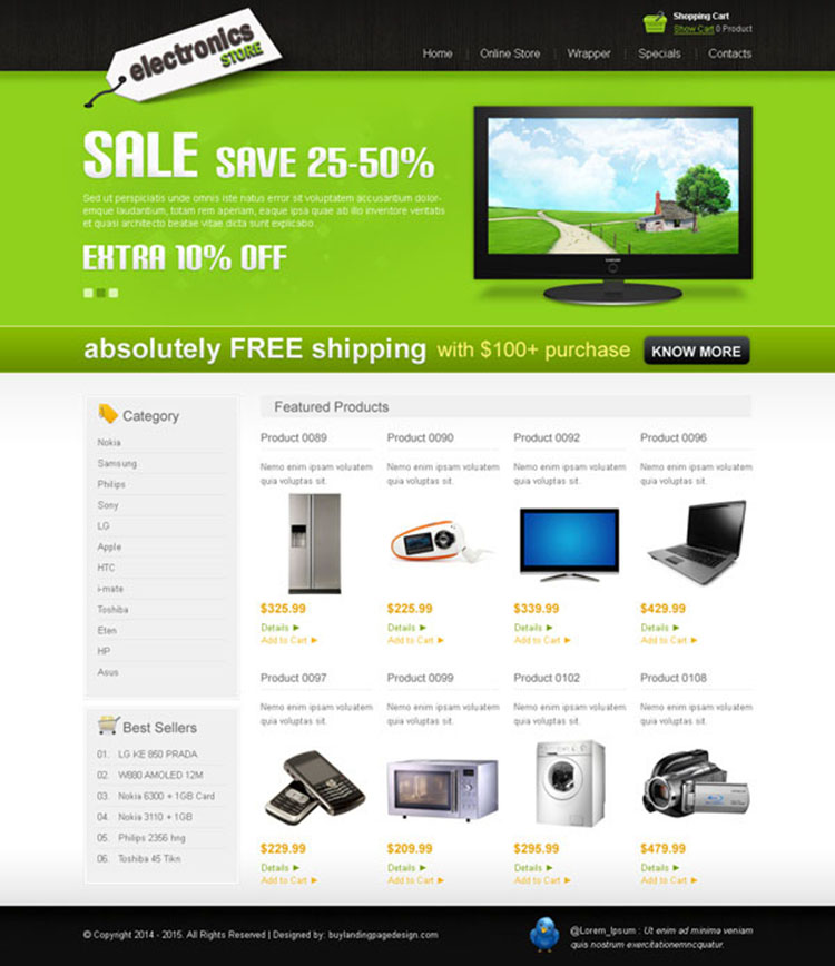 clean and user friendly online electronics store website template design psd